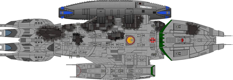 Battlestar Vindication - Battle Damage Dorsal View by Kelso323