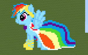 Rainbow Dash in her Gala dress Minecraft pixel art by theburningfox