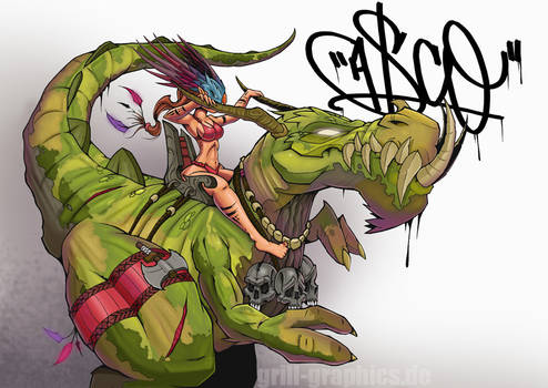 riding a t-rex