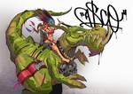 riding a t-rex by ASCOE