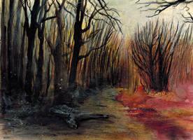 Brandwald im Herbst