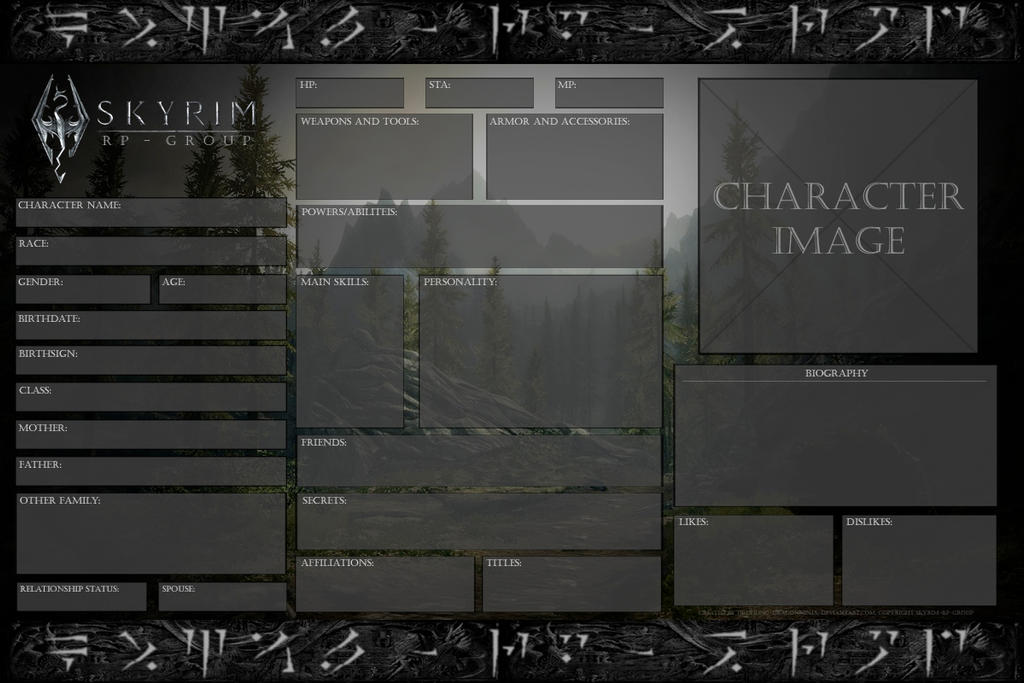 Skyrim rp group official character sheet blank by drohung skyrim rp group official character sheet blank by drohung dragonninja maxwellsz