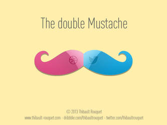 dribbble and twitter buttons on a mustache by Trookeye