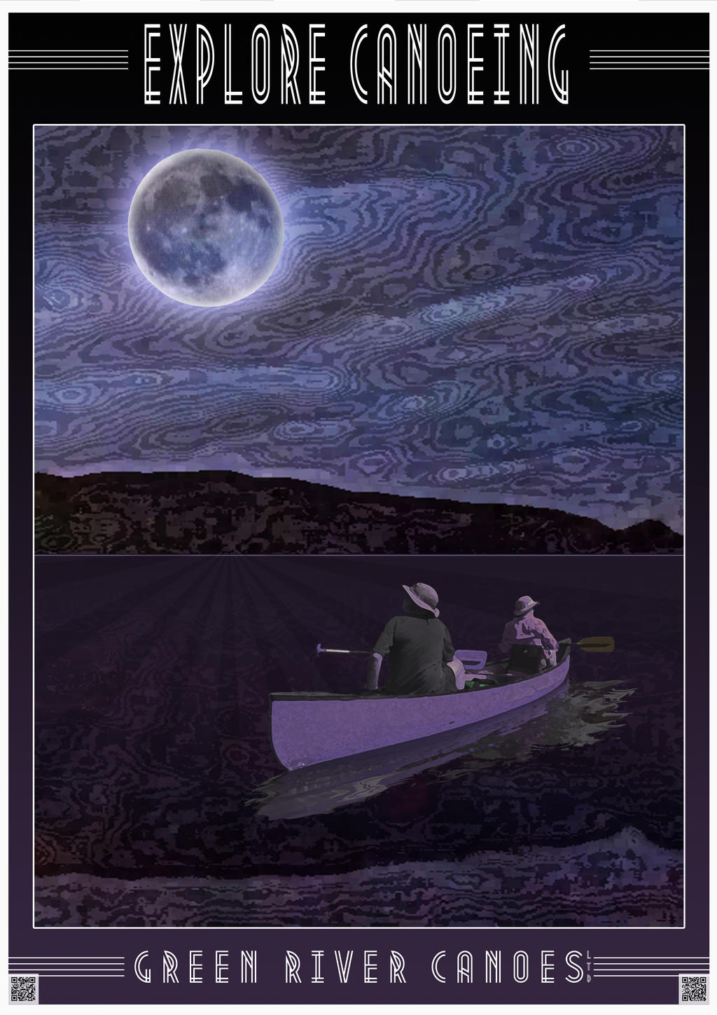 Canoeing Under a Full Moon by houselightgallery