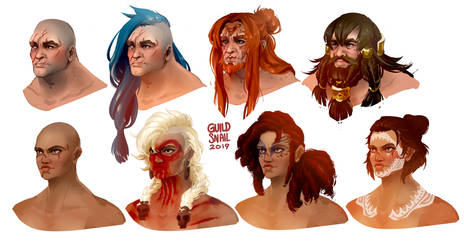 Painting practice: Norn hairstyles1