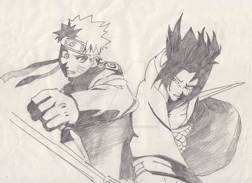 Naruto and sasuke pencil drawing by pinklesasidharan