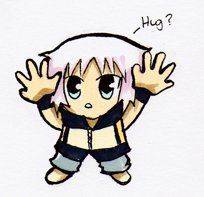 Chibi Riku - Hug? (Coloured version) by lollypop071