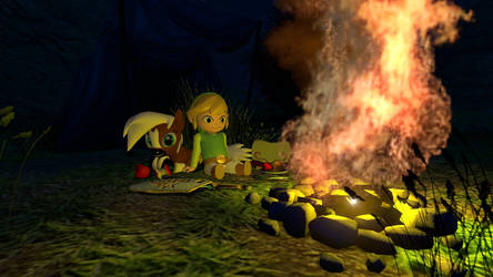 Toon Link and Little Epona Camping by BlueStarKnight
