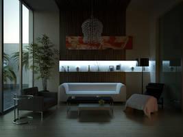 night scene of sitting room by Neellss