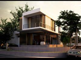 Box house evening by Neellss