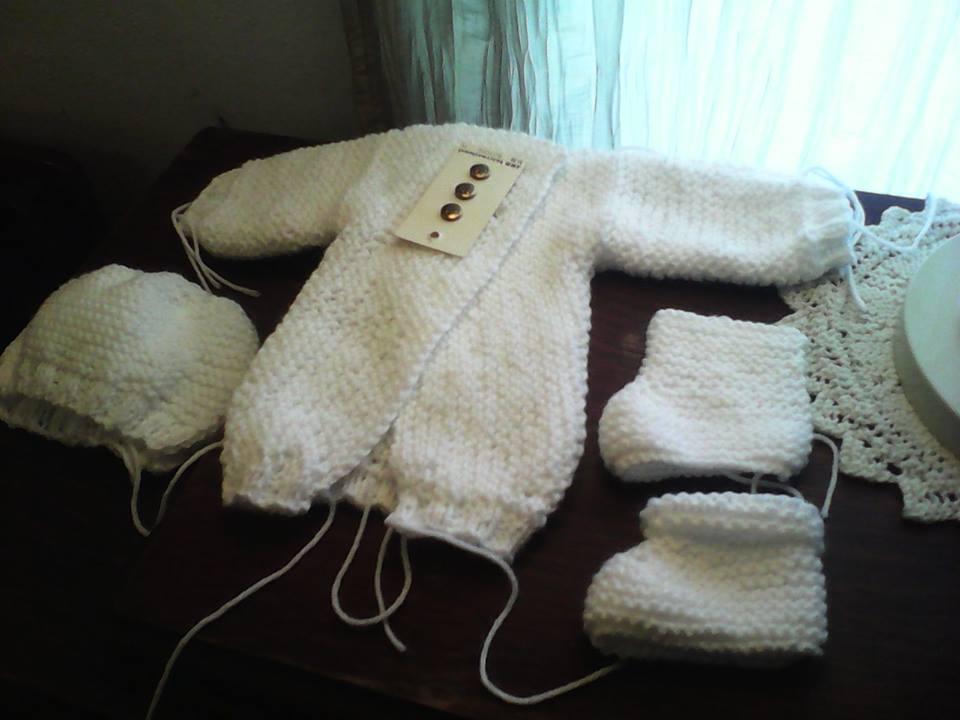 Knitted Baby Set in progress. by Elizabethjunean