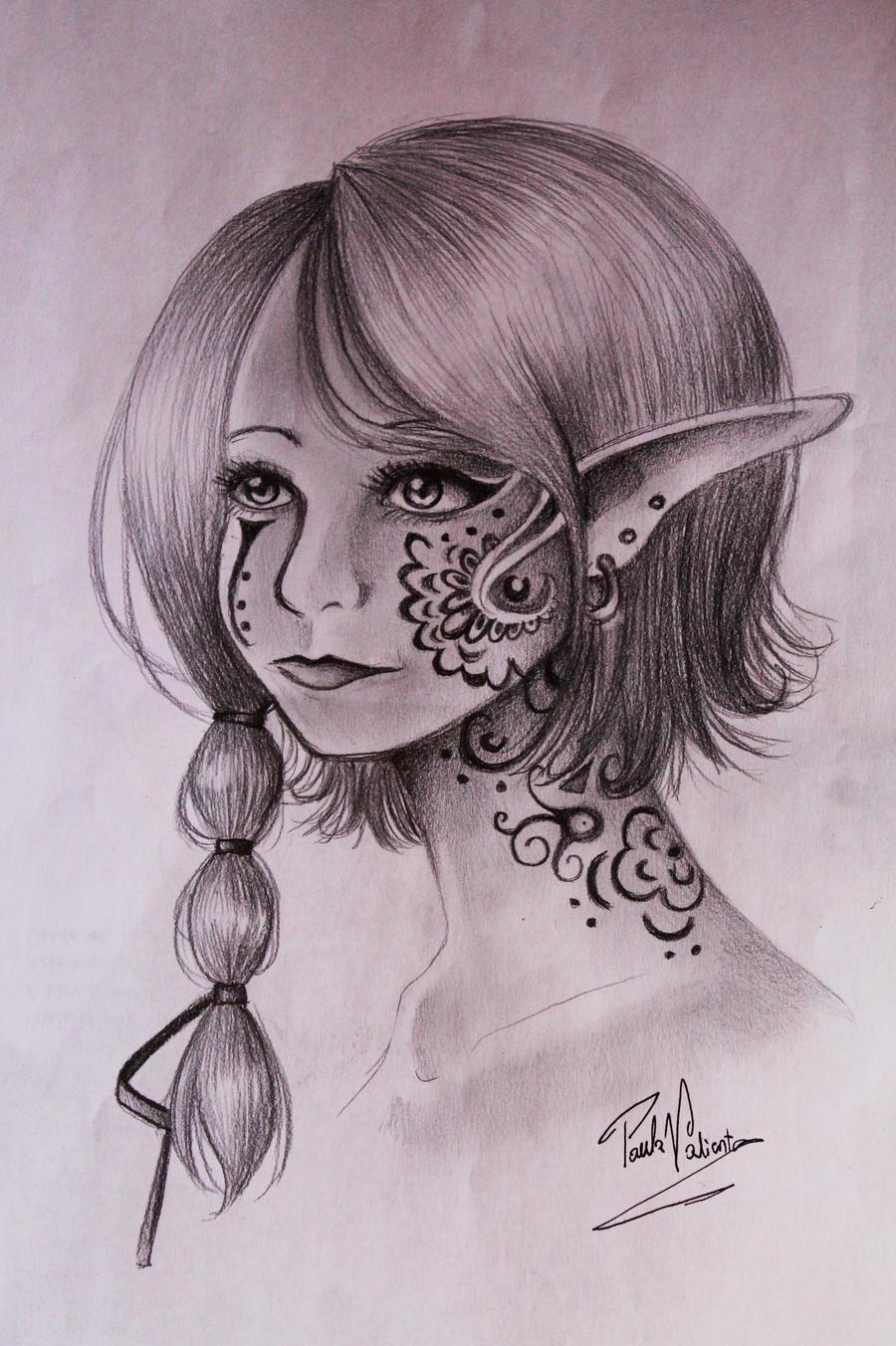 elf with strange tattoos by Nasuki100