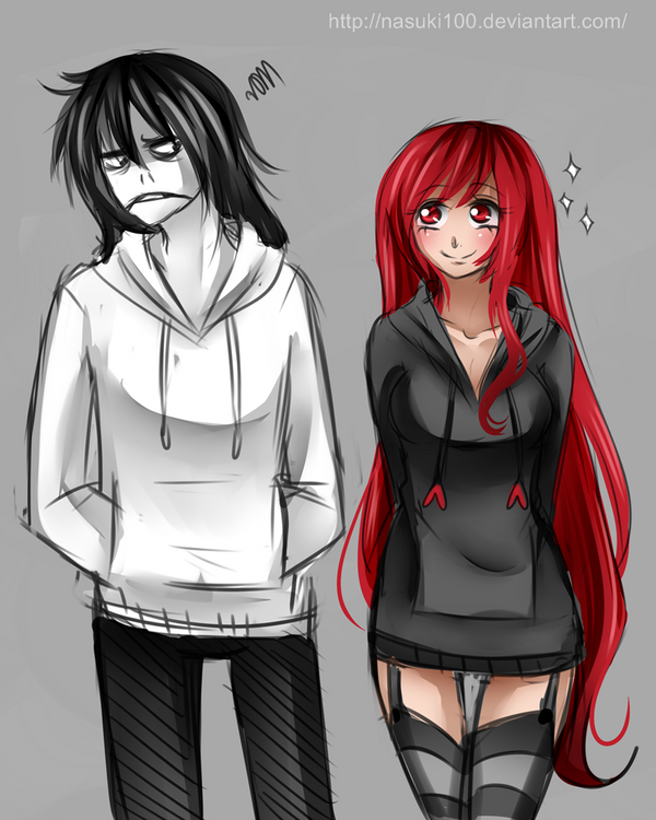 Jeff the killer VS Cherry Pau -Sketch-CROSSOVER by Nasuki100