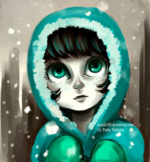 little girl and snow