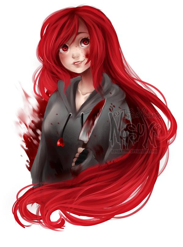 Cherry Pau By Black Anime Girl Drawing