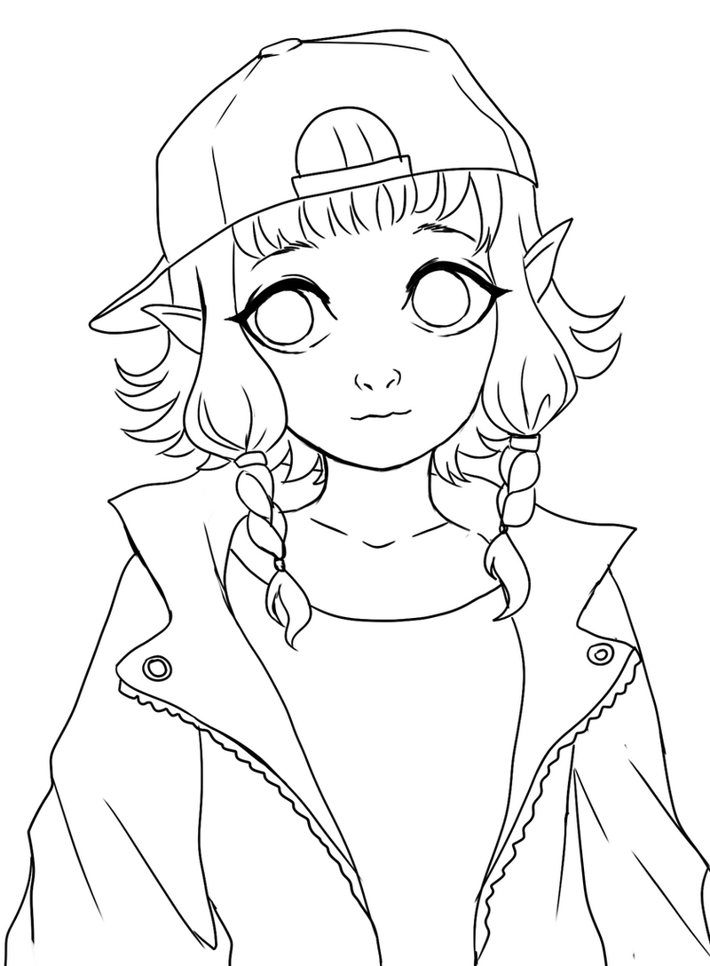Line Art Free : Urban elf lineart free to color by nasuki on deviantart