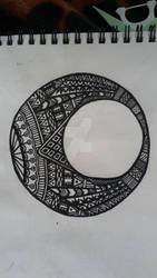 zentangle henna inspired moon pt#1