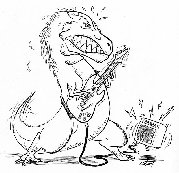 T-Rex rocking out by phodyr