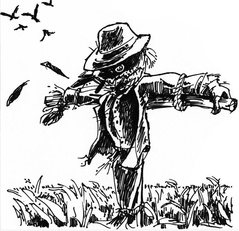 Inktober Drawlloween 2015 Scarecrow by phodyr