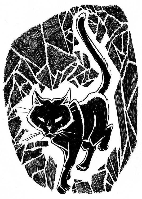 2015 Inktober Drawlloween Black Cat by phodyr