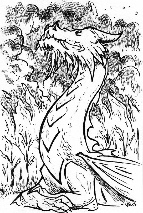 2015 Inktober Drawlloween Dragon by phodyr