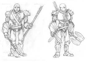 Six - warforged barbarian - front and 3-4