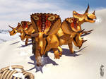 Triceratops in the snow