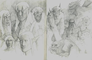 Elves and Demons sketches by RRJones