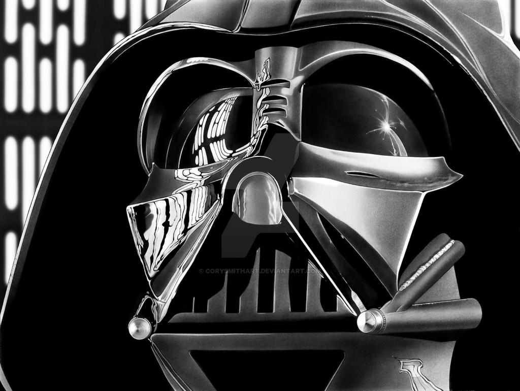 Darth vader print by corysmithart on deviantart for Darth vader black and white