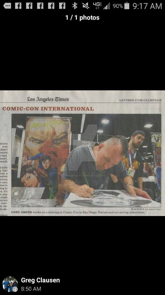 SDCC 2015 The cover of the Los Angeles Times by corysmithart