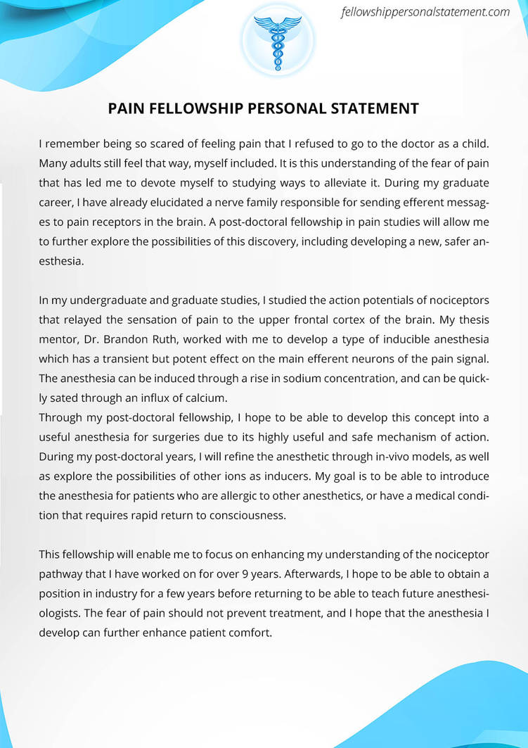 Pain Fellowship Personal Statement Sample by