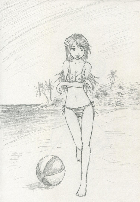 bikini pencil drawings