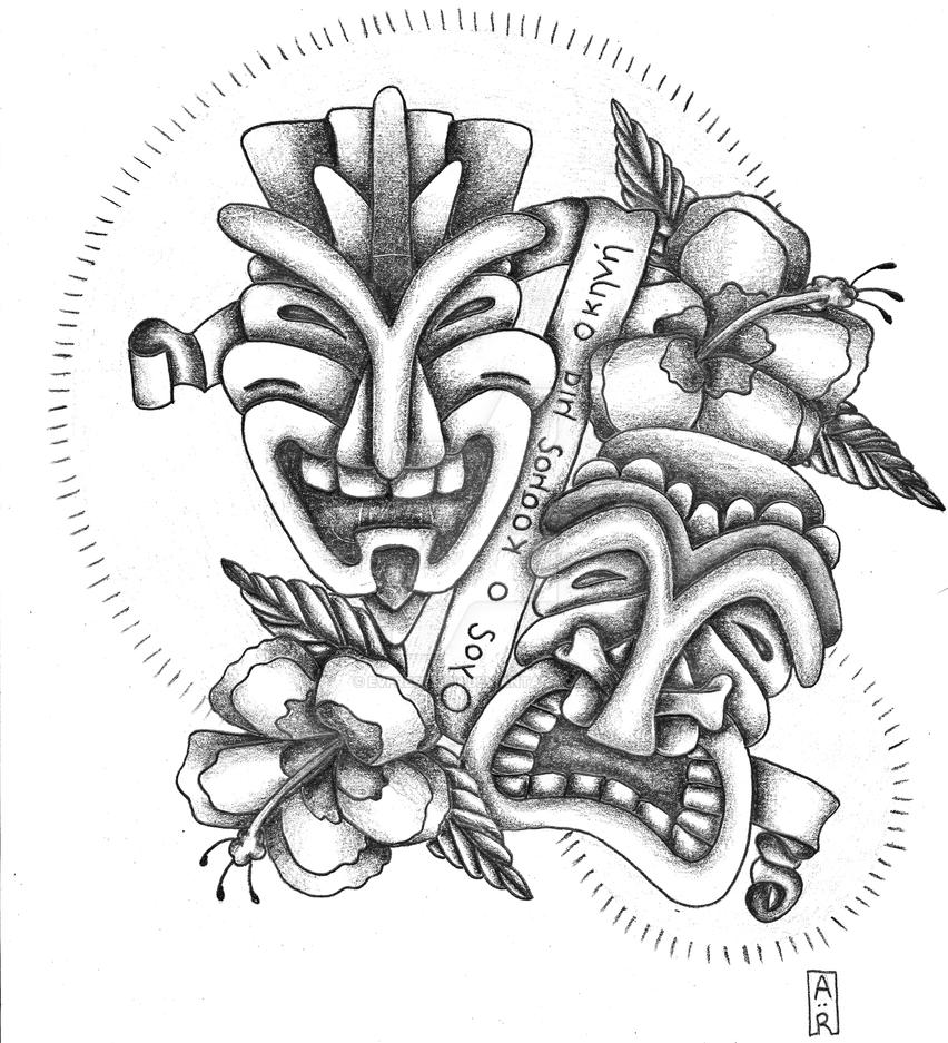 Tattoo commission by evpresteign on deviantart for Comedy and tragedy tattoo