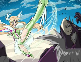 Aquila Yuna in Battle - Saint Seiya Omega by FiercestBard