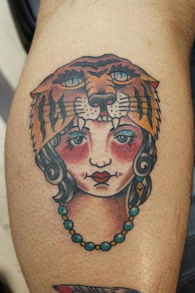 Tiger Headdress Tattoo Lady Head Tiger Headdress by