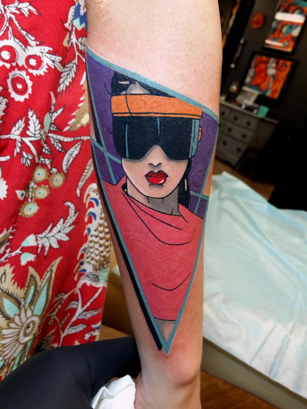 This Rad tattoo of Patrick Nagel\'s work by Steve Rieck fits here ...