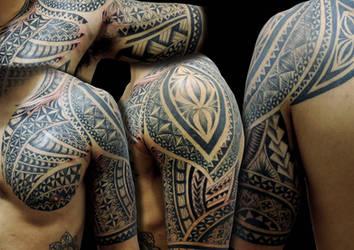 maori half sleeve tattoo by Facundo-Pereyra