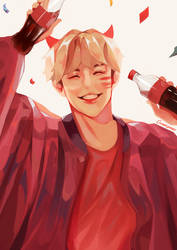 Yoongi Coca Cola by Cosmicpens