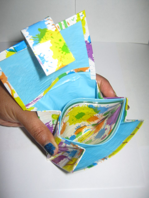 Splatter Duct Tape Mini Accordian Wallet by CraftyGirl27