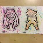 Sailor Moon and Goku paint splash
