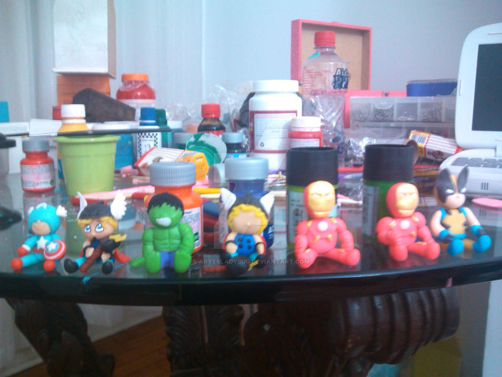 America Captain Thor Hulk Iron Man Wolverine Clay by artesladybug