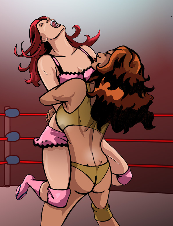 Otakon Commission-Adrianna vs Chloe-Bearhug by albonia