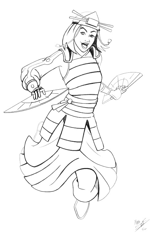 Suki avatar the last airbender pencils by albonia on for Avatar coloring pages