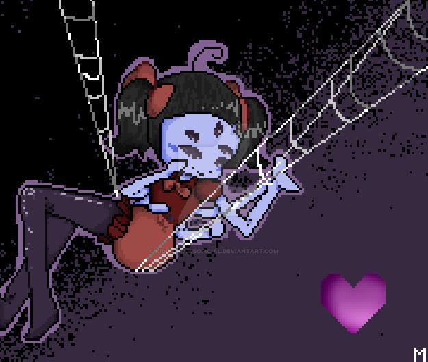 Pixel Art - Muffet (commission) by KiddoDrawsOficial