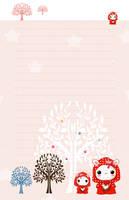 Kawaii red hood bunnies - stationery by tho-be