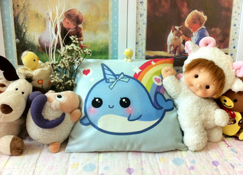 Kawaii Narwhal Pillow by tho-be