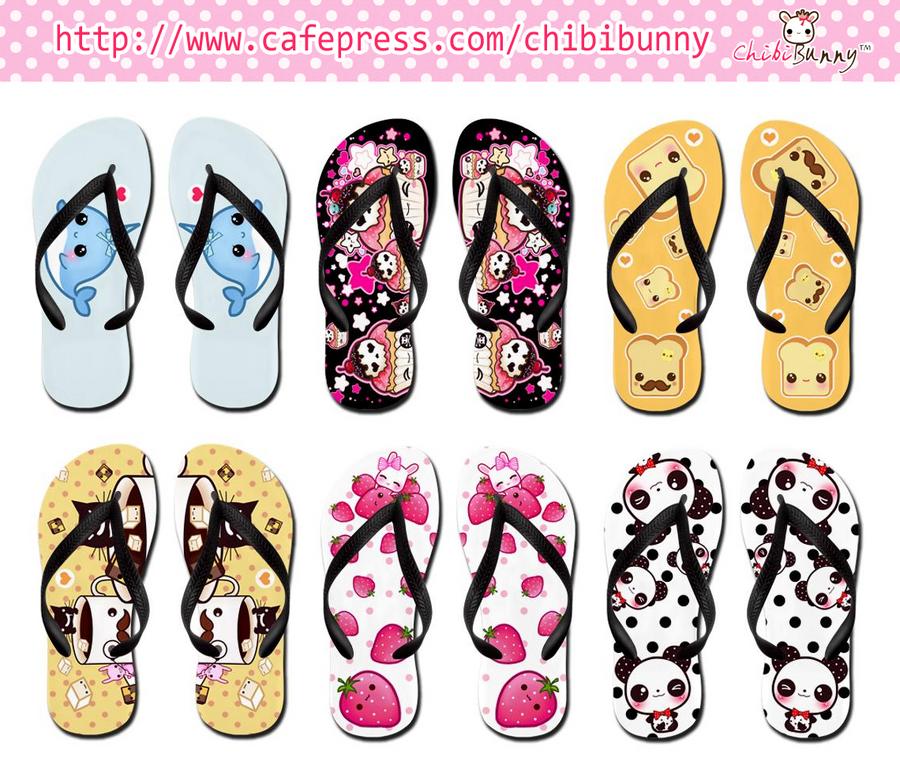 Kawaii flip flops by tho-be