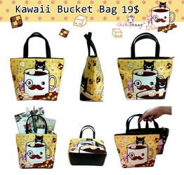 Kawaii mustache bucket bag by tho-be