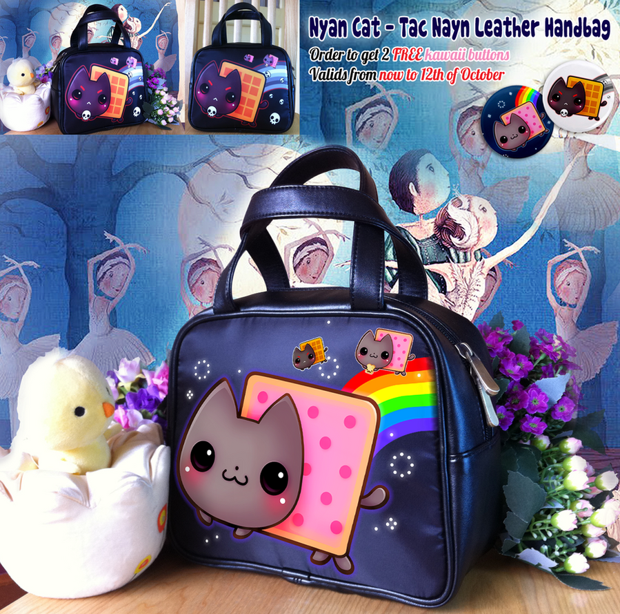 Nyan cat - Tac Nayn leather handbag by tho-be