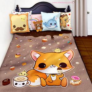 Kawaii fox and cute cakes fleece blanket